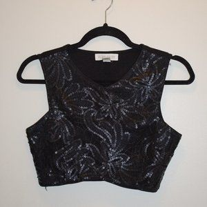 Forever 21 Embroidered Black Crop Tank Top